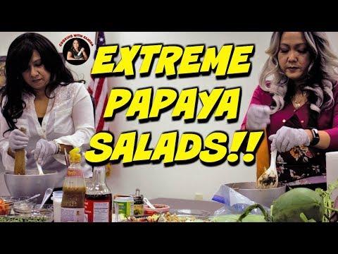 KHMER FOOD-EXTREME PAPAYA SALADS! បុកល្ហុងឆ្ងាញ់ពិសេស!!!