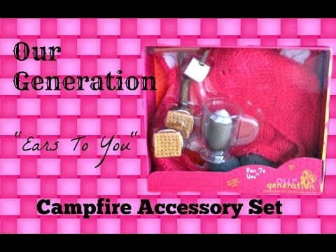 Our Generation Campfire Set + Maltese Pup + Clothing Sets