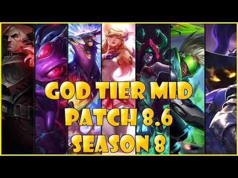 Best Mid Laners | God Tier | patch 8.6 Season 8 League of legends