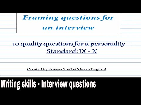 Writing skills - Interview Q'