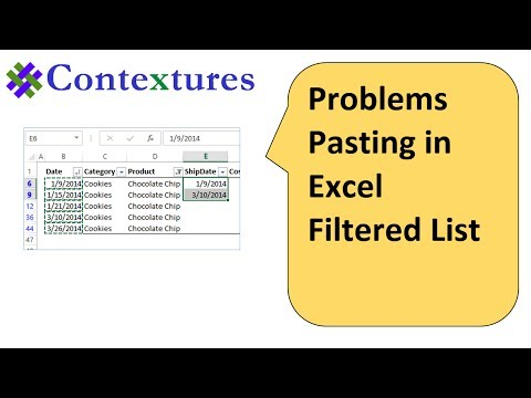 Problem Pasting in Excel Filtered List