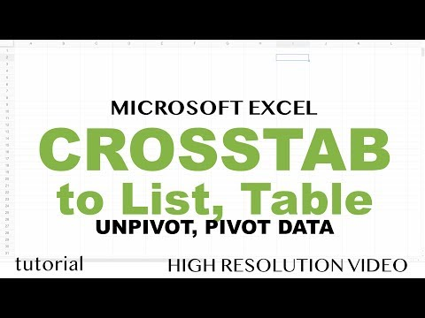 Excel - Crosstab to List Table, Pivot Table to Data Table, Flat File Data Conversion Techniques