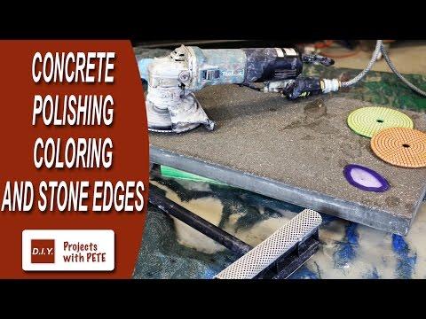 Concrete Polishing Basics, Coloring Concrete, and Stone Style Edges
