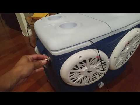 Small clip of the functional stereo cooler ice chest radio