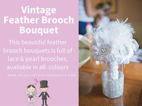 Vintage feather brooch bouquet