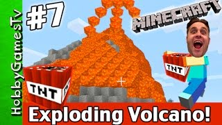 Minecraft EXPLODING Lava VOLCANO Creative Mode Fail Xbox 360 HobbyGamesTV