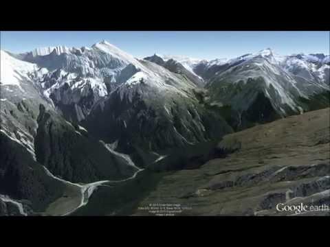 New Zealand Alps Fly-Through Tour 5 - Google Earth