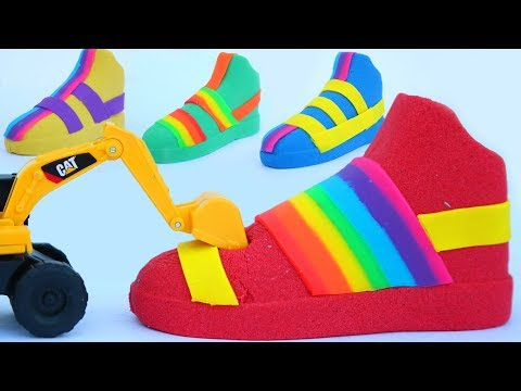 How To Make Ancient Shoes With Kinetic Sand learn Colors Mighty Toys