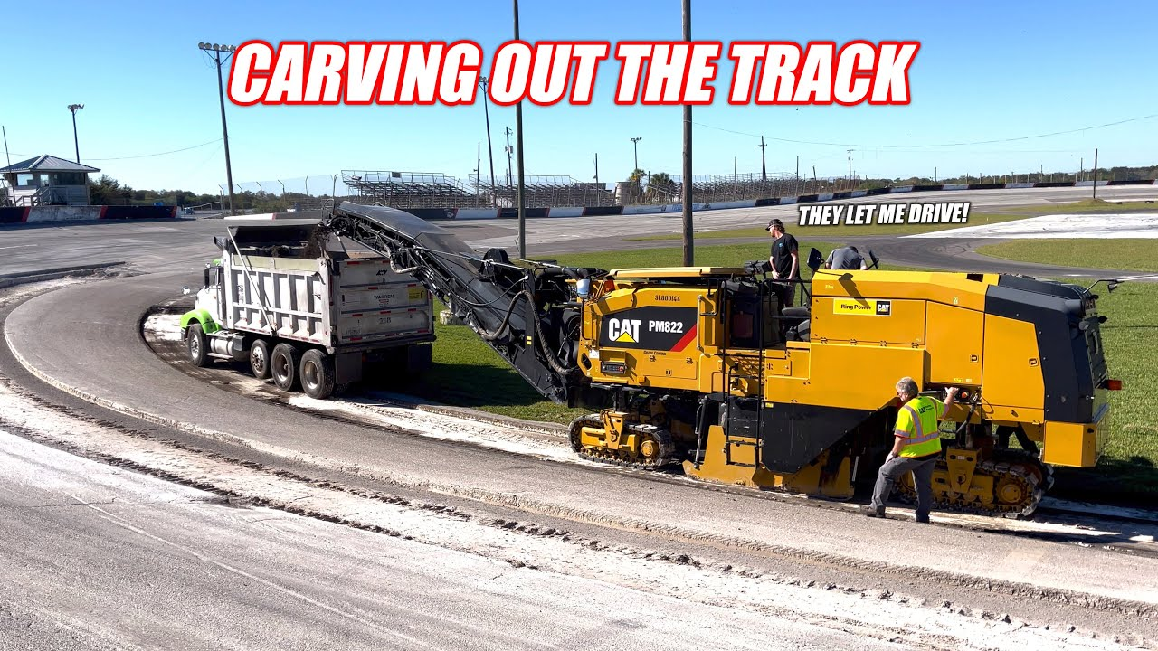 Renovating an Abandoned Racetrack Part 6 - Finishing Milling the Freedom Factory's HUGE Pot Holes!