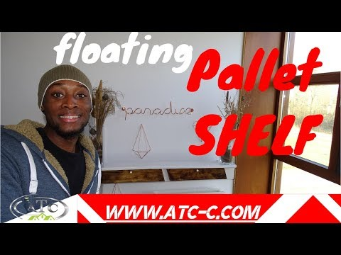 Original rustic Pallet floating shelf with storage // How to // DIY