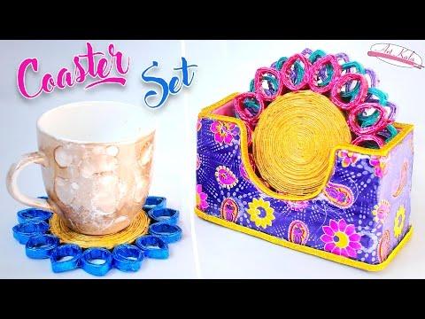 How to make newspaper Coaster set | diy coaster | Best out of waste | Artkala 163