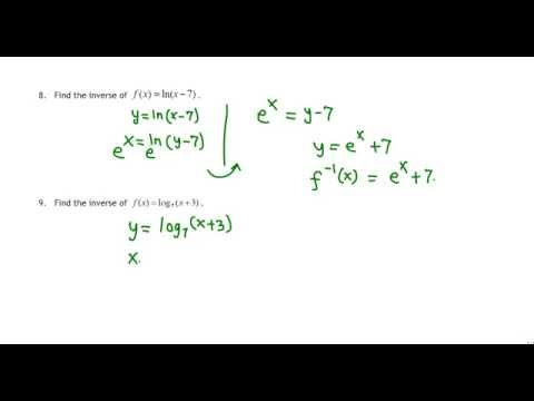 Finding inverse of a logarithmic function