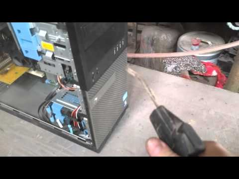 Cleaning a dusty PC with an air compressor (Dell PT2)
