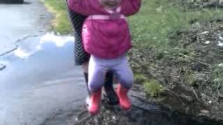 Jumping up and down in muddy puddles