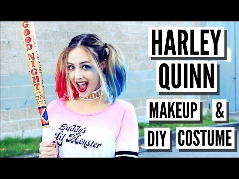 Easy DIY Harley Quinn Suicide Squad Makeup, Hair + Costume!