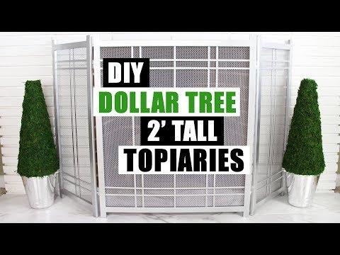 DIY DOLLAR TREE LARGE TOPIARIES DIY Home Decor 2' Tall Topiaries