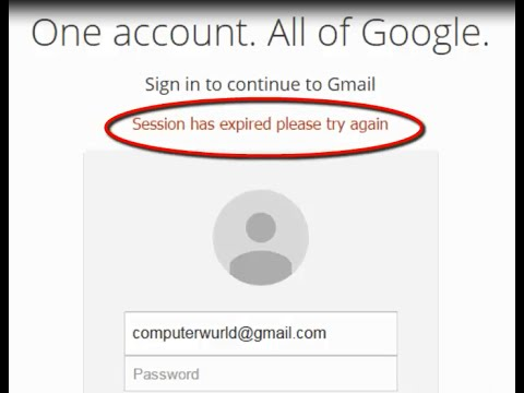 Google Chrome displaying 'Session has expired please try again' message in the gmail sign in page