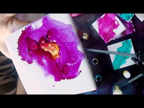 First Attempt Alcohol Ink (I MADE A FLOWER!!)