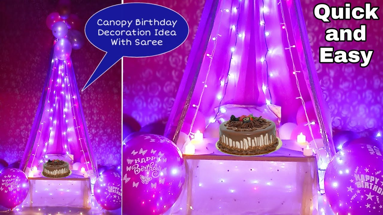 Easy Canopy Birthday Decoration Ideas at home With Saree | How To Make Floor Seating Canopy by Saree