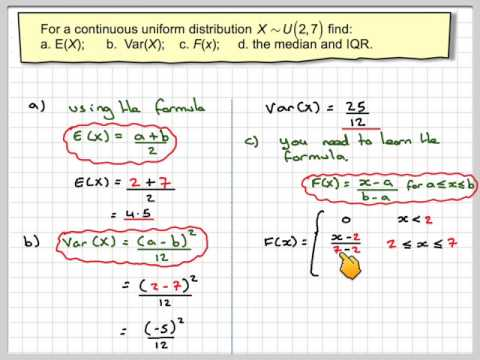 Finding mean variance CDF median and interquartile range for a continuous uniform distribution