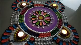 Navratri ,Diwali Special multicolored Rangoli Designs using spoon|attractive rangoli for festival