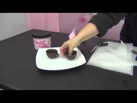 Chocolate Tea Cups and Piped Chocolate Embellishments by www sweetwise com