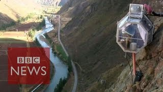 Spending the night in a cliff-side hotel in Peru - BBC News