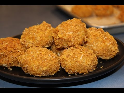 Cornflake Crusted Chicken Nuggets in oven