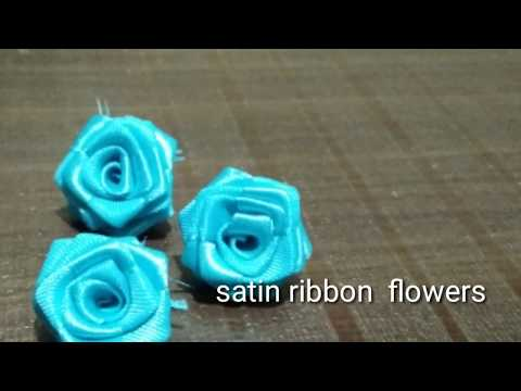 How to make satin ribbon flowers for hair brooch making at home / bridal wedding hair flowers making