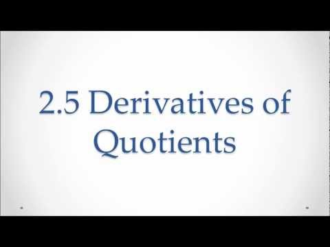 2.5 Derivative of a Quotient