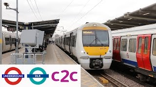 London Underground, DLR and c2c trains at West Ham & Limehouse