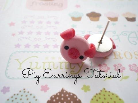 DIY Polymer Clay Pig Earrings- EASY& cute!