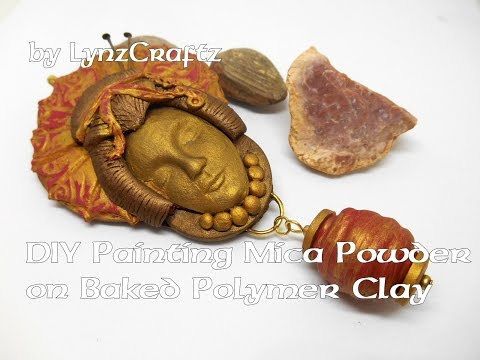 DIY Painting with Mica Powders on baked Polymer Clay tutorial