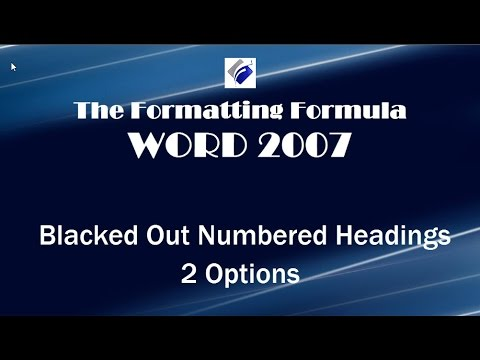 Word  2007   Black Out Numbered Headings   2 Options