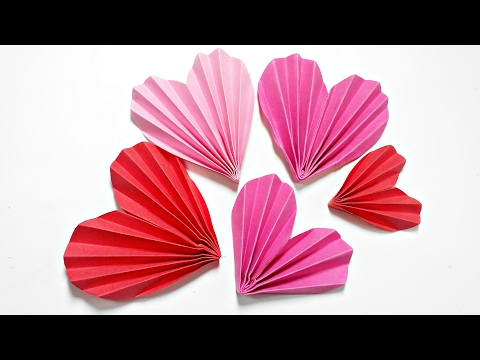 Origami Heart 3D For Decoration/DIY Crafts - Paper Hearts Design Valentine's Day tutorial