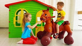 Max and Ulya Pretend Play with Ride On Horse Toy
