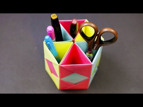 Origami Pencil Holder - Desk Organizer (DIY Paper Craft Tutorial)!