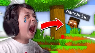 Minecraft, But I Made My Little Brother CRY **HILARIOUS!!**