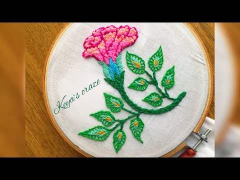 Flower and leaf hand embroidery tutorial | French knot | Blanket stitch | fishbone stitch | 2018