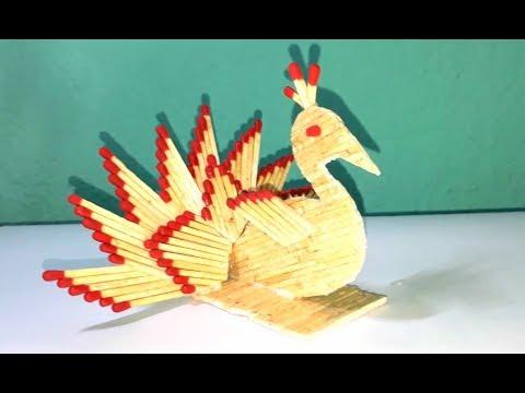 Matchstick art : How to make Matchstick peacock.peacock making from matchstick.wonderful match craft