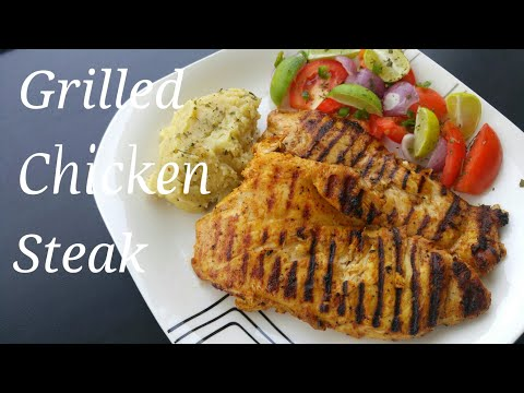 Chicken Steak grilled/ Spicy chicken steak recipe/ Mashed potatoes recipe..