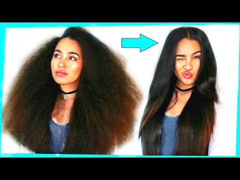 CURLY TO STRAIGHT HAIR TUTORIAL - NO FRIZZ on Naturally Curly Hair / How i Straighten my Hair