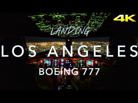 Landing Los Angeles | B777 Cockpit View 4K