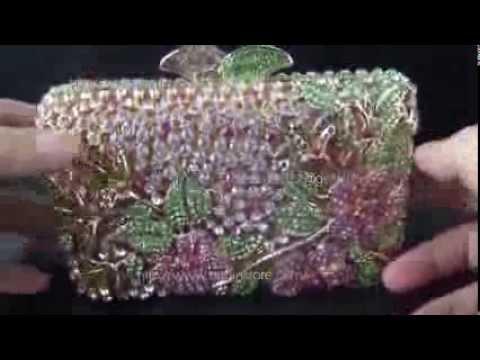 Wholesale Custom Evening Bags Hard Metal Frame Austrian Crystal Clutch Handbag UK Sale