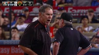 SF@LAD: Bochy ejected after arguing strikeout