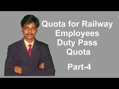 Quota for Railway Employees. Duty, Privilege and Post Retirement Complimentary Passes [Hindi]