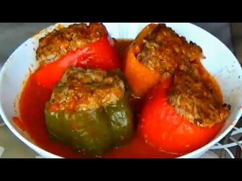 Stuffed peppers.Stuffed peppers with ground beef.Beef and Rice Stuffed Peppers Recipe
