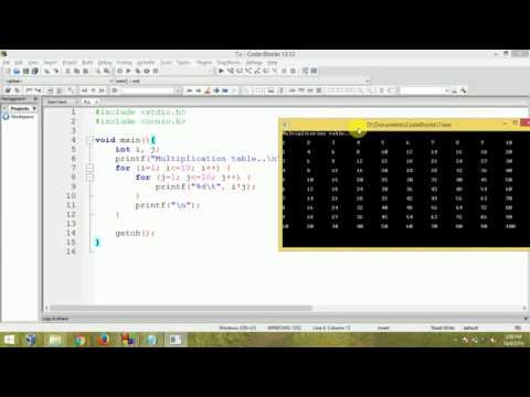 C Programming - Multiplication table using nested for loop