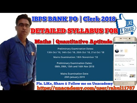 Maths/Quantitative Aptitude Syllabus For BANK IBPS & RRB Clk & P.O Exam in Hindi by a STATE BANKER