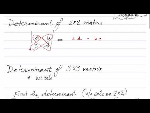 Find determinant of 2x2,  Cramer's rule intro (110.6.5)